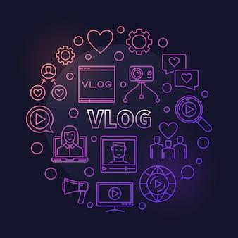 Ilustração de contorno colorido do conceito circular vlog