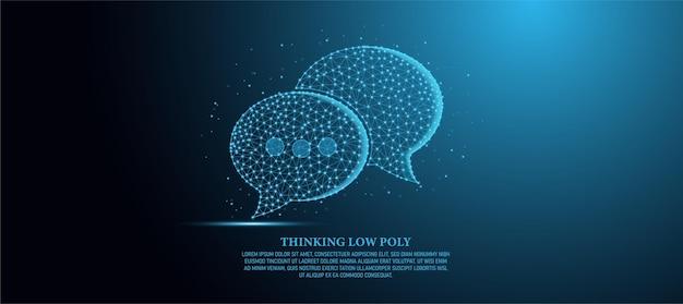 Ilustração de contorno de baixo poli em fundo azul claro cheio de luz e estilo cosmos conceito, tecnologia e equipamentos linhas e pontos com polígonos