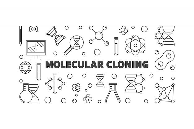 Ilustração de contorno de clonagem molecular
