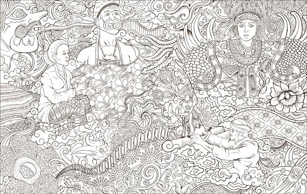 Ilustração de contorno de cultura indonésia