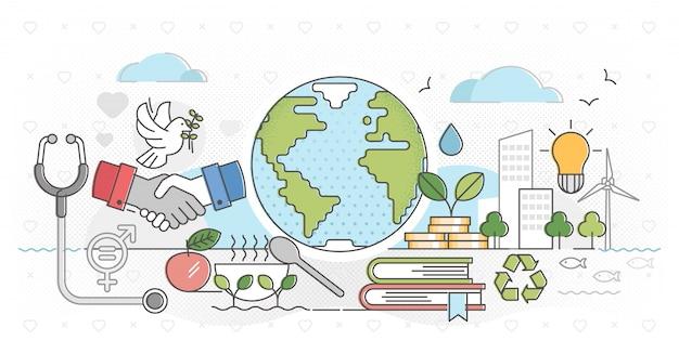 Ilustração de contorno de desenvolvimento amigável de natureza sustentável