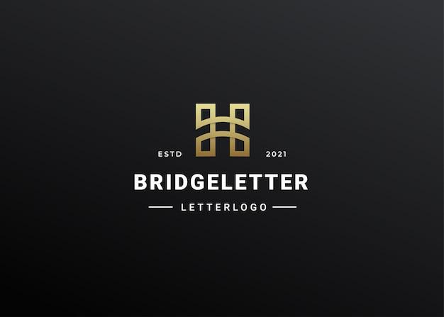 Ilustração de contorno de estilo moderno do ícone do logotipo da letra h