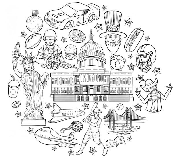 Ilustração de contorno dos estados unidos da américa