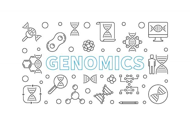 Ilustração de contorno horizontal de genômica