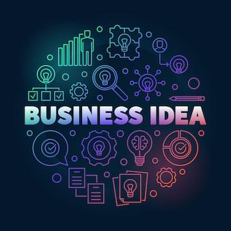 Ilustração de contorno redondo criativo de ideia de negócio