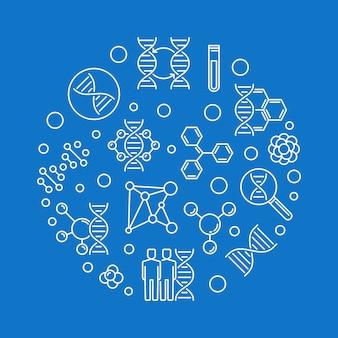 Ilustração de contorno redondo de engenharia de genoma