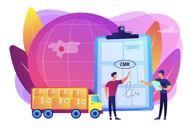 Ilustração de contrato de distribuição e logística mundial