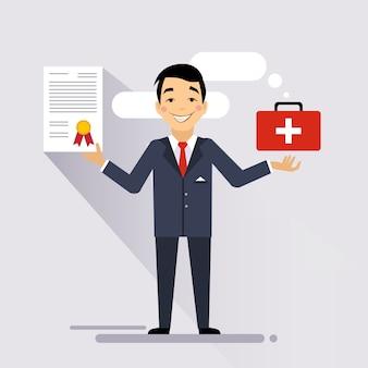 Ilustração de contrato de seguro