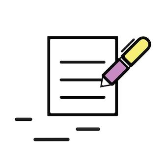 Ilustração, de, contrato, ícone
