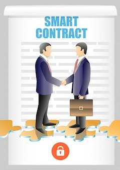 Ilustração de contrato inteligente de blockchain