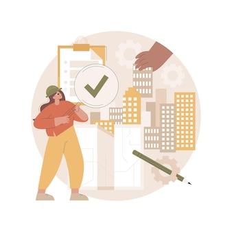 Ilustração de controle de qualidade de construção