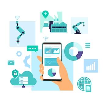 Ilustração de controle móvel e análise de dados