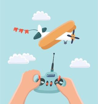 Ilustração de controle remoto de avião e rádio