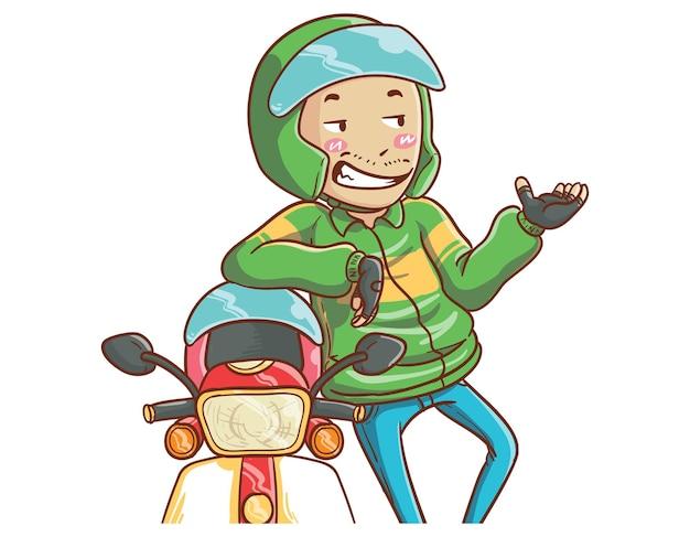 Ilustração de conversação de motorista de táxi de bicicleta online desenhada à mão estilo de coloração de desenho animado