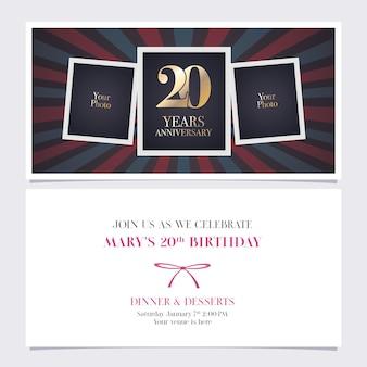 Ilustração de convite de aniversário de 20 anos
