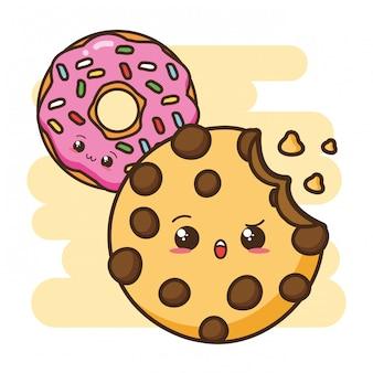 Ilustração de cookie e donut de fast-food kawaii