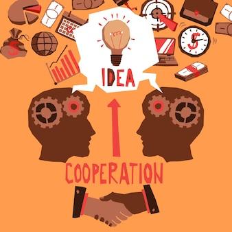 Ilustração de cooperação empresarial