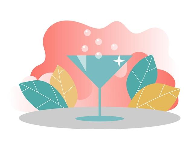 Ilustração de coquetel. conceito para banners web. modelo de banner e página de destino do site em cores modernas