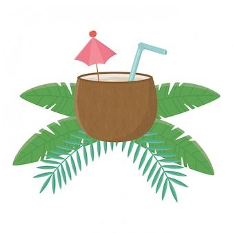 Ilustração de coquetel de coco isolado