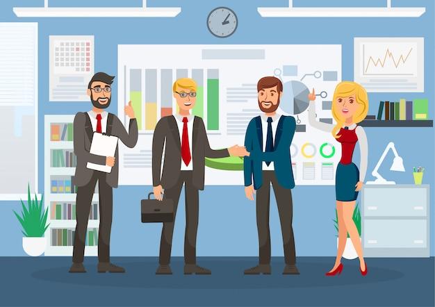 Ilustração de cor bem sucedida reunião de negócios