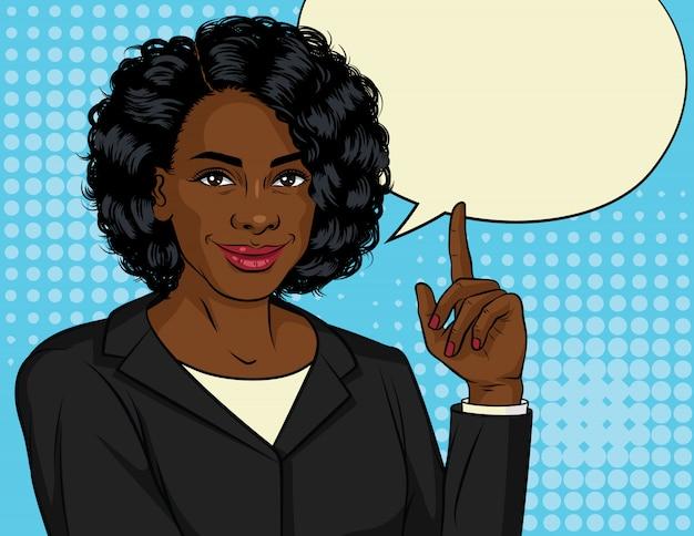 Ilustração de cor da mulher de negócios bem sucedido americano africano. feliz senhora bonita no terno do escritório aparece polegar. senhora chefe aponta para cima.