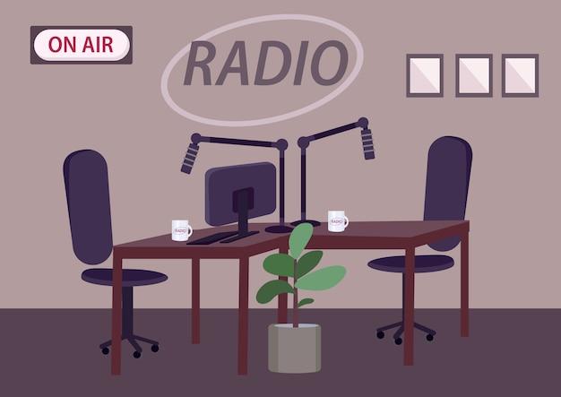 Ilustração de cor de estúdio de rádio vazio