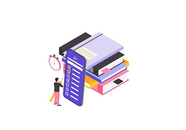 Ilustração de cor de exame on-line
