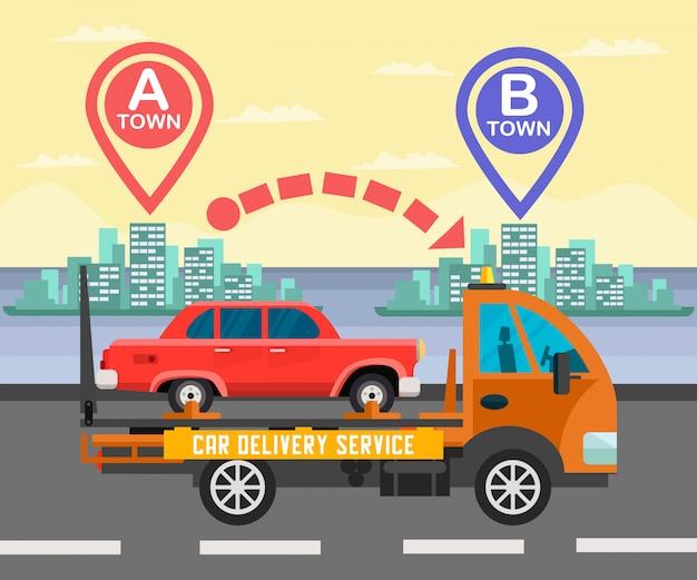Ilustração de cor de negócios de entrega de carro interurbanos