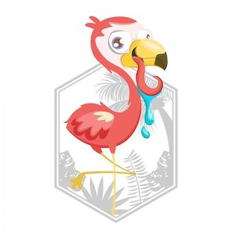 Ilustração, de, cor-de-rosa, flamingo