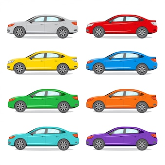 Ilustração de cor diferente do sedan.