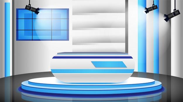 Ilustração de cor do estúdio de notícias vazio