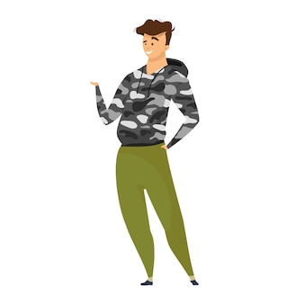 Ilustração de cor do explorer. aventureiro em roupas de estilo de sobrevivência. turismo masculino em vestuário de camuflagem. pano de estilo de vida ativo. personagem de desenho animado expeditioner em fundo branco