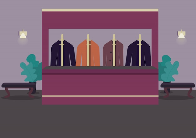 Ilustração de cor do vestiário. guarda-roupa para escolher os pertences. sala de teatro. saguão do restaurante. ternos em cabides. interior dos desenhos animados de sala de cassino com balcão de recepcionista em fundo