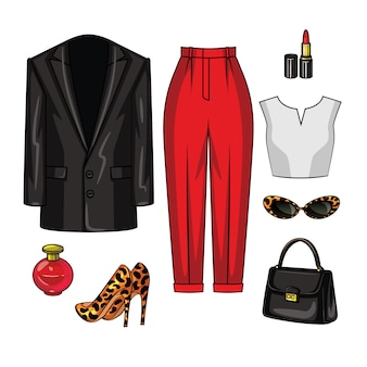 Ilustração de cor dos itens de guarda-roupa de noite das mulheres. roupas elegantes para uma mulher de negócios.