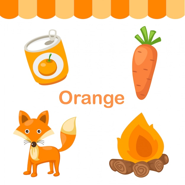 Ilustração, de, cor isolado, laranja, grupo
