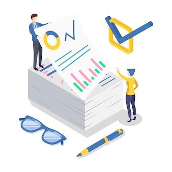 Ilustração de cor isométrica de análise de negócios. auditoria contábil e financeira. análise de dados e estatística. gestão estratégica. papelada. estratégia corporativa. conceito 3d isolado no branco
