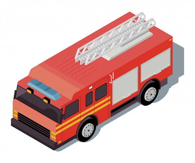 Ilustração de cor isométrica de caminhão de bombeiros. infográfico de transporte da cidade.