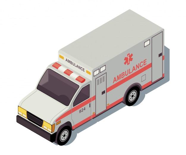 Ilustração de cor isométrica de carro ambulância.