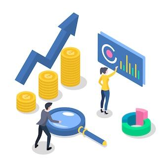 Ilustração de cor isométrica de contabilidade e auditoria