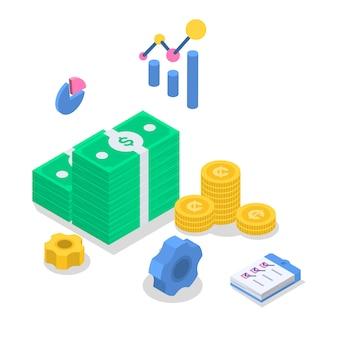 Ilustração de cor isométrica de contabilidade.