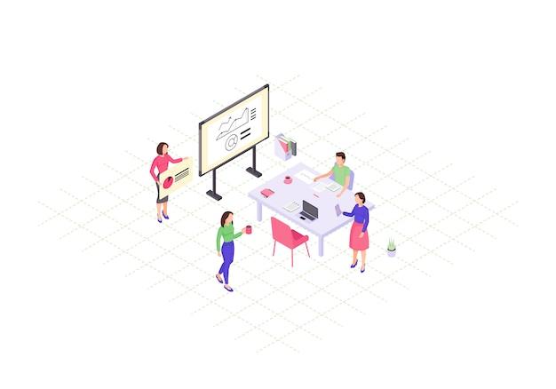Ilustração de cor isométrica de trabalho em equipe