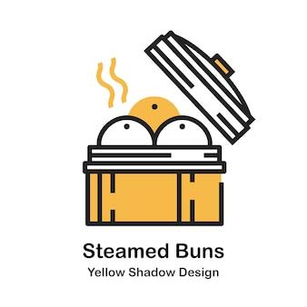 Ilustração de cor linear de pão cozido no vapor