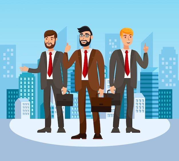 Ilustração de cor lisa de formadores de escola de negócios
