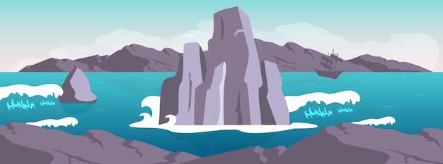 Ilustração de cor lisa de paisagem
