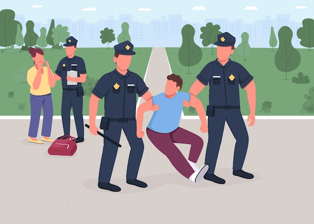 Ilustração de cor lisa de prisão de ladrão. policial pego assaltante. vítima mulher. proteção legal. segurança civil. personagens de desenhos animados 2d de policiais com paisagem urbana no fundo