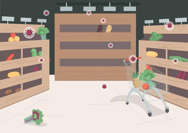 Ilustração de cor lisa de supermercado vazio