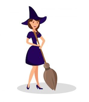 Ilustração de cor lisa de vassoura de exploração de bruxa
