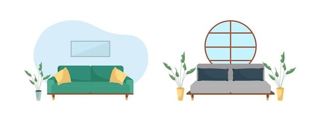 Ilustração de cor lisa do interior da sala de estar
