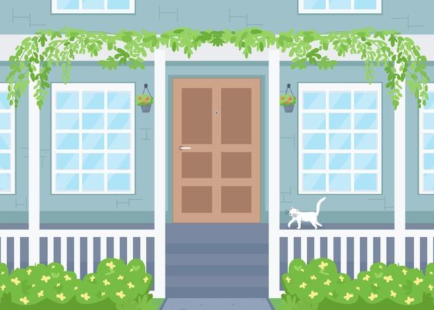 Ilustração de cor lisa exterior de casa Vetor Premium