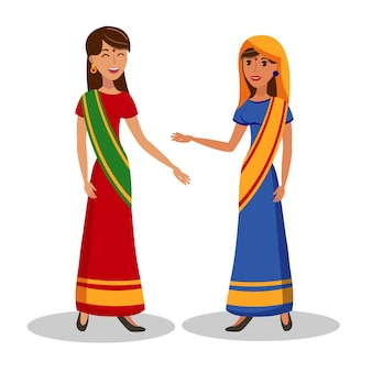 Ilustração de cor lisa linda mulheres indianas